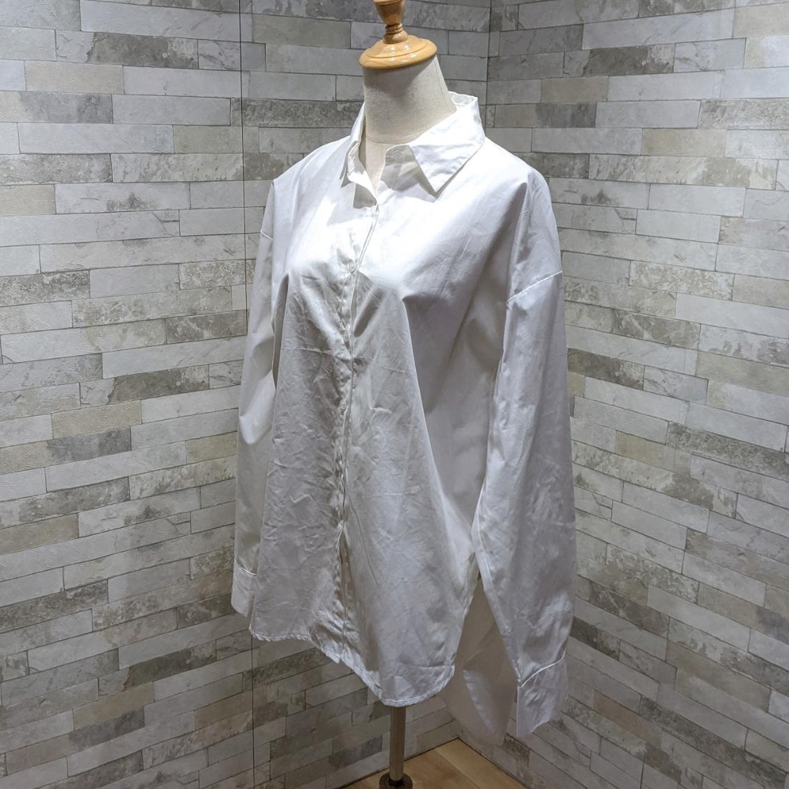 韓国 ファッション トップス ブラウス シャツ 春 夏 カジュアル PTXH430  ビッグシルエット フィッシュテール ベーシック オルチャン シンプル 定番 セレカジの写真5枚目