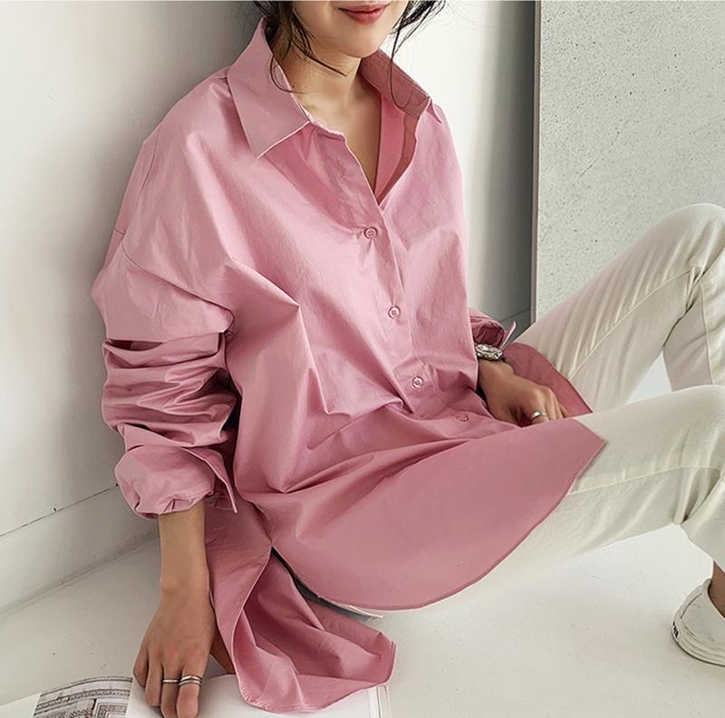 韓国 ファッション トップス ブラウス シャツ 春 夏 カジュアル PTXH430  ビッグシルエット フィッシュテール ベーシック オルチャン シンプル 定番 セレカジの写真6枚目