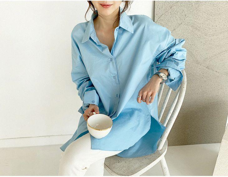 韓国 ファッション トップス ブラウス シャツ 春 夏 カジュアル PTXH430  ビッグシルエット フィッシュテール ベーシック オルチャン シンプル 定番 セレカジの写真7枚目