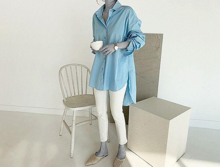 韓国 ファッション トップス ブラウス シャツ 春 夏 カジュアル PTXH430  ビッグシルエット フィッシュテール ベーシック オルチャン シンプル 定番 セレカジの写真8枚目