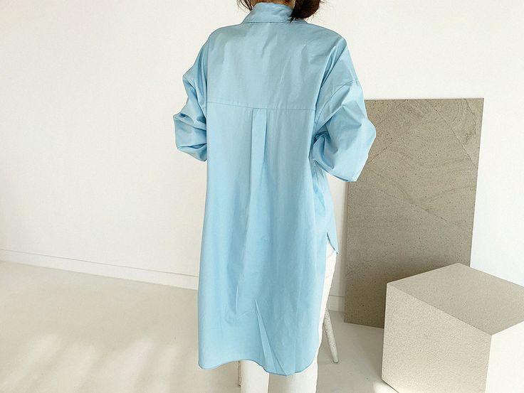 韓国 ファッション トップス ブラウス シャツ 春 夏 カジュアル PTXH430  ビッグシルエット フィッシュテール ベーシック オルチャン シンプル 定番 セレカジの写真9枚目