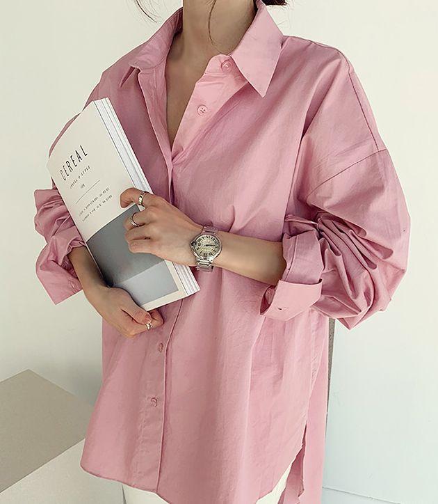 韓国 ファッション トップス ブラウス シャツ 春 夏 カジュアル PTXH430  ビッグシルエット フィッシュテール ベーシック オルチャン シンプル 定番 セレカジの写真10枚目