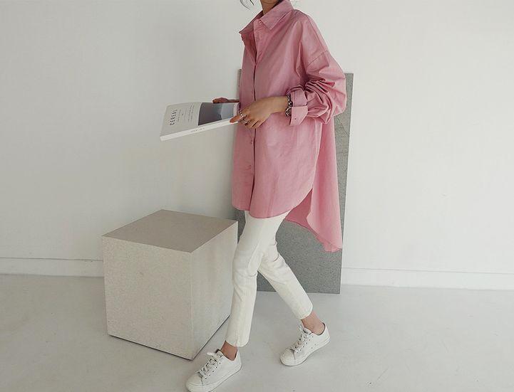 韓国 ファッション トップス ブラウス シャツ 春 夏 カジュアル PTXH430  ビッグシルエット フィッシュテール ベーシック オルチャン シンプル 定番 セレカジの写真11枚目