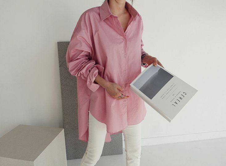 韓国 ファッション トップス ブラウス シャツ 春 夏 カジュアル PTXH430  ビッグシルエット フィッシュテール ベーシック オルチャン シンプル 定番 セレカジの写真12枚目