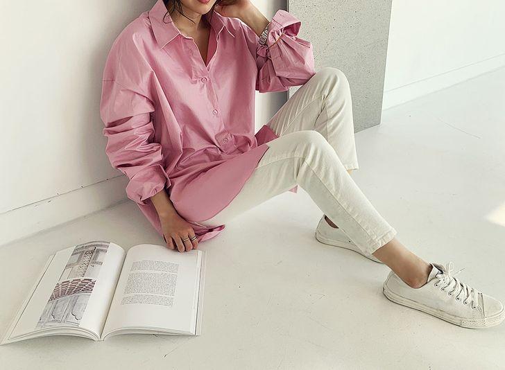 韓国 ファッション トップス ブラウス シャツ 春 夏 カジュアル PTXH430  ビッグシルエット フィッシュテール ベーシック オルチャン シンプル 定番 セレカジの写真13枚目
