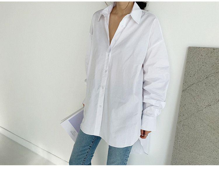 韓国 ファッション トップス ブラウス シャツ 春 夏 カジュアル PTXH430  ビッグシルエット フィッシュテール ベーシック オルチャン シンプル 定番 セレカジの写真14枚目