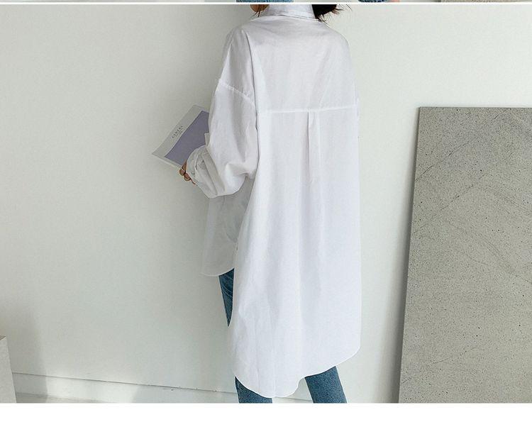 韓国 ファッション トップス ブラウス シャツ 春 夏 カジュアル PTXH430  ビッグシルエット フィッシュテール ベーシック オルチャン シンプル 定番 セレカジの写真15枚目