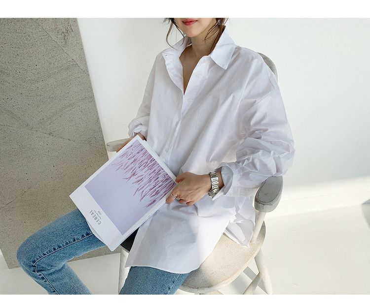 韓国 ファッション トップス ブラウス シャツ 春 夏 カジュアル PTXH430  ビッグシルエット フィッシュテール ベーシック オルチャン シンプル 定番 セレカジの写真16枚目