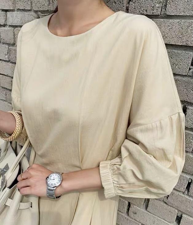 韓国 ファッション ワンピース 春 夏 カジュアル PTXH436  オーバーショルダー 七分袖 シンプル リゾート オルチャン シンプル 定番 セレカジの写真10枚目