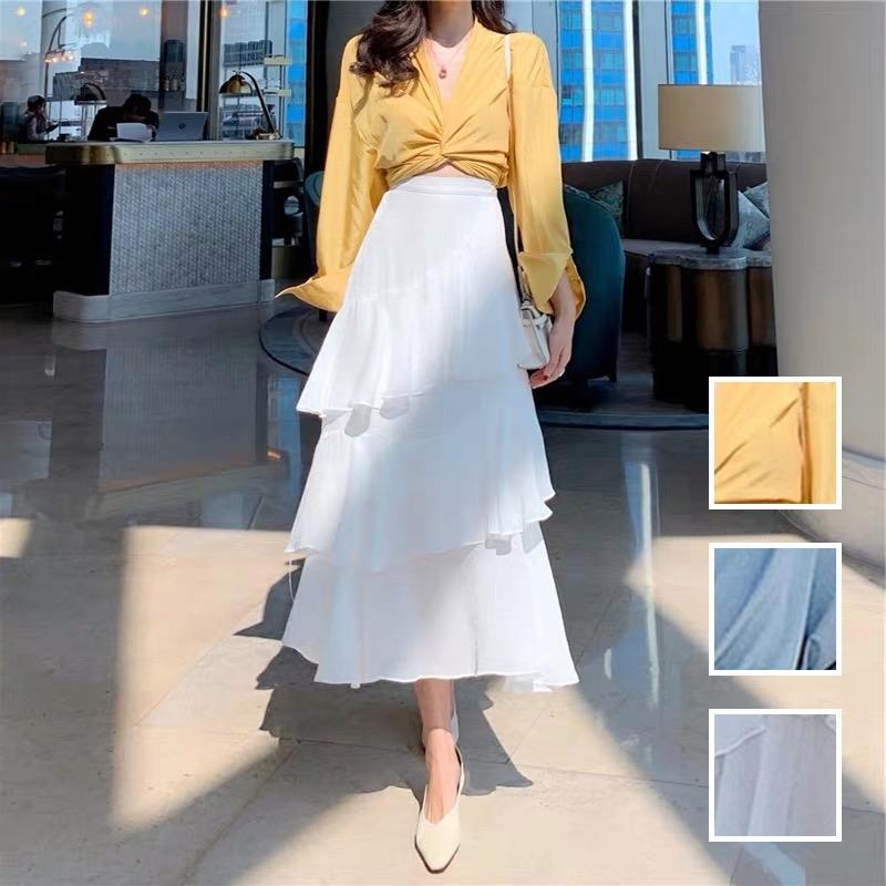 韓国 ファッション セットアップ 春 夏 カジュアル PTXH438  ツイスト シャツ シアー アシンメトリー オルチャン シンプル 定番 セレカジの写真1枚目