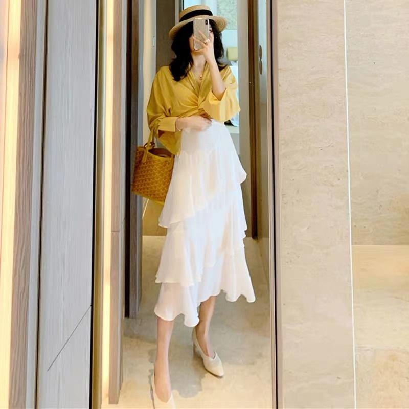 韓国 ファッション セットアップ 春 夏 カジュアル PTXH438  ツイスト シャツ シアー アシンメトリー オルチャン シンプル 定番 セレカジの写真3枚目
