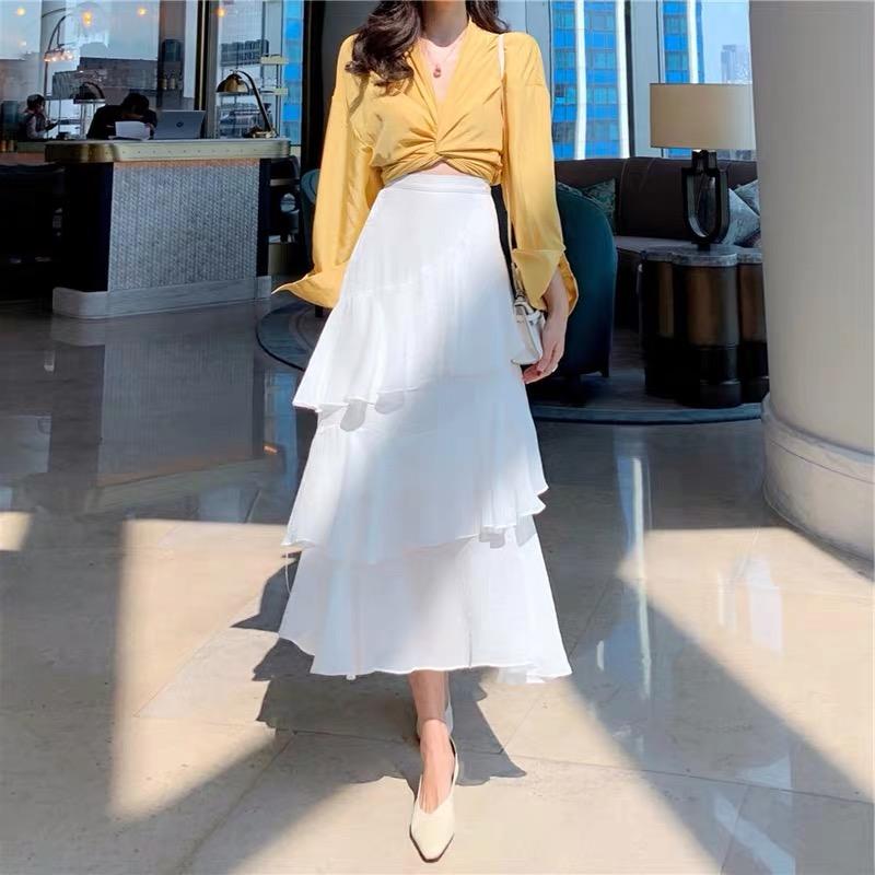 韓国 ファッション セットアップ 春 夏 カジュアル PTXH438  ツイスト シャツ シアー アシンメトリー オルチャン シンプル 定番 セレカジの写真5枚目