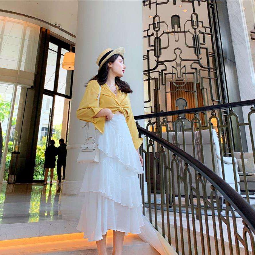韓国 ファッション セットアップ 春 夏 カジュアル PTXH438  ツイスト シャツ シアー アシンメトリー オルチャン シンプル 定番 セレカジの写真7枚目