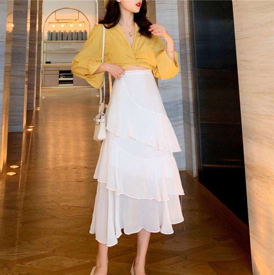 韓国 ファッション セットアップ 春 夏 カジュアル PTXH438  ツイスト シャツ シアー アシンメトリー オルチャン シンプル 定番 セレカジの写真8枚目
