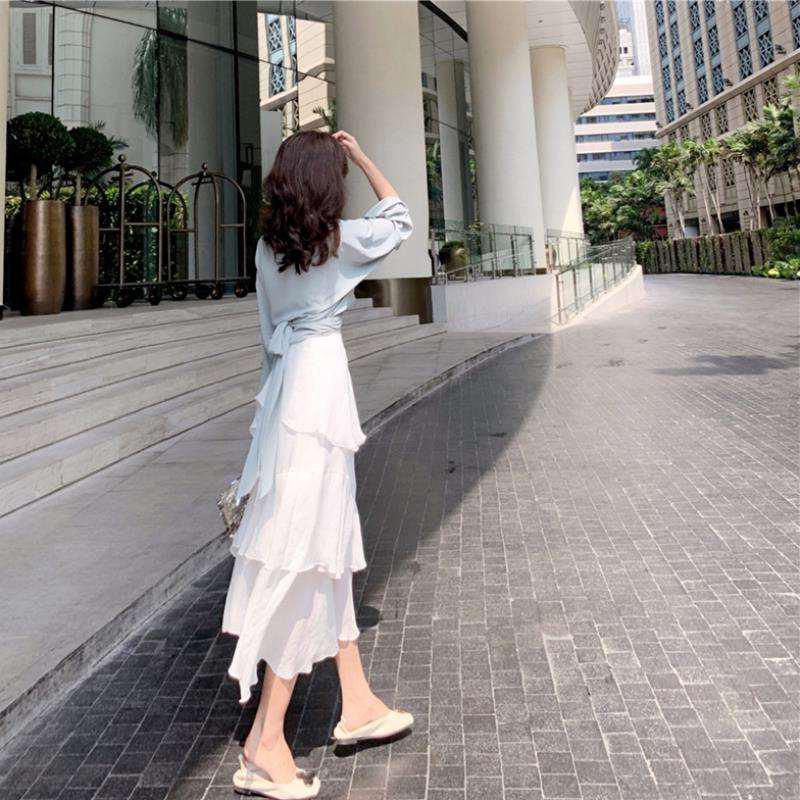 韓国 ファッション セットアップ 春 夏 カジュアル PTXH438  ツイスト シャツ シアー アシンメトリー オルチャン シンプル 定番 セレカジの写真9枚目