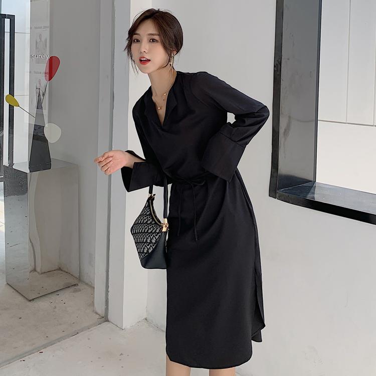 韓国 ファッション ワンピース 春 秋 冬 カジュアル PTXH448  とろみ素材 アシンメトリー ベーシック 着回し オルチャン シンプル 定番 セレカジの写真5枚目