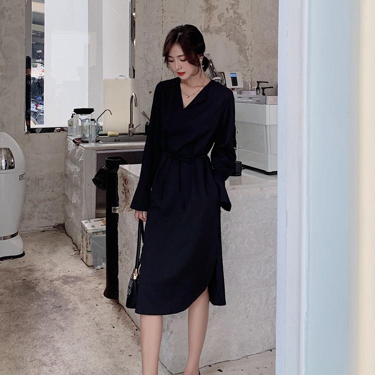 韓国 ファッション ワンピース 春 秋 冬 カジュアル PTXH448  とろみ素材 アシンメトリー ベーシック 着回し オルチャン シンプル 定番 セレカジの写真6枚目