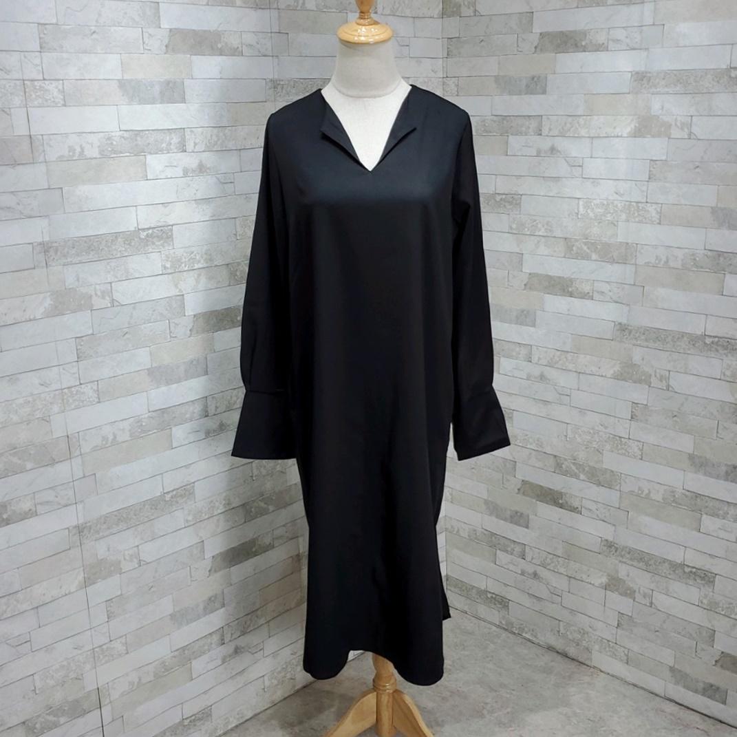 韓国 ファッション ワンピース 春 秋 冬 カジュアル PTXH448  とろみ素材 アシンメトリー ベーシック 着回し オルチャン シンプル 定番 セレカジの写真7枚目