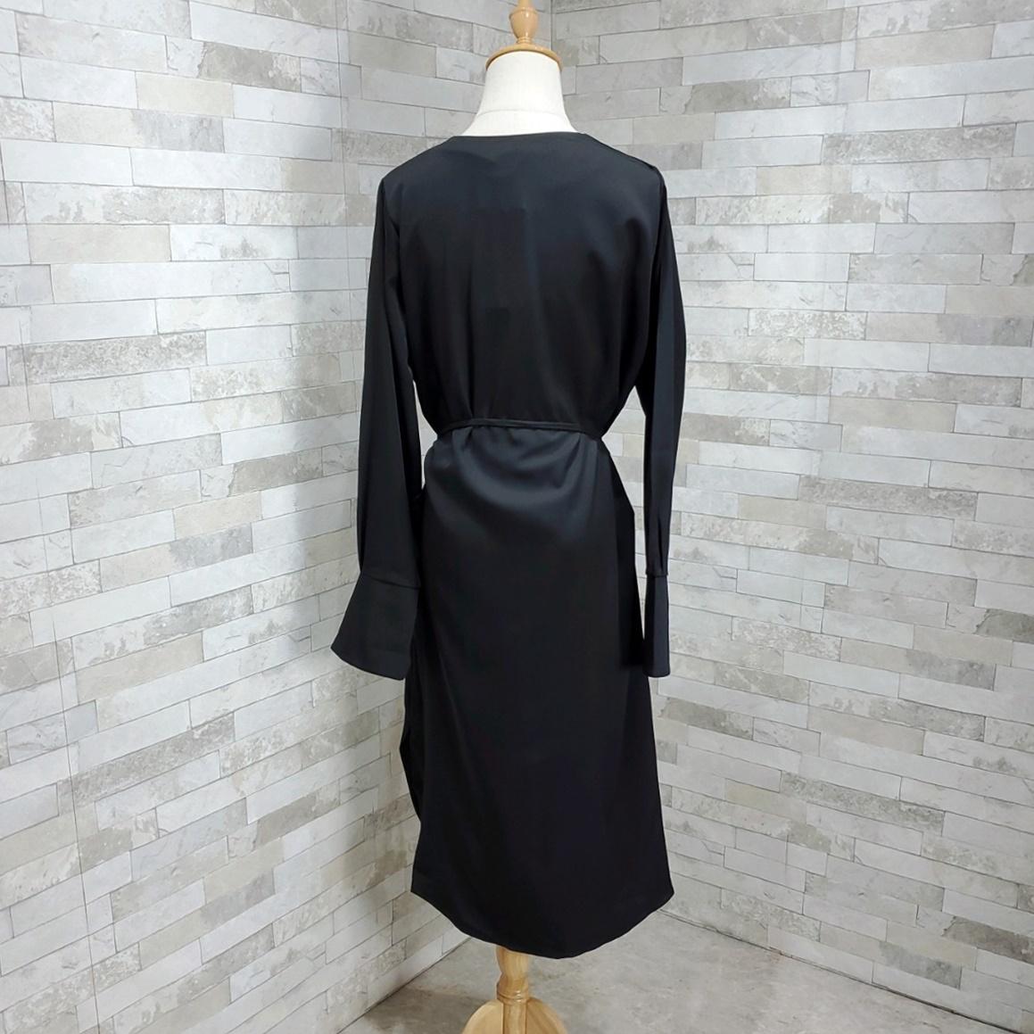 韓国 ファッション ワンピース 春 秋 冬 カジュアル PTXH448  とろみ素材 アシンメトリー ベーシック 着回し オルチャン シンプル 定番 セレカジの写真11枚目