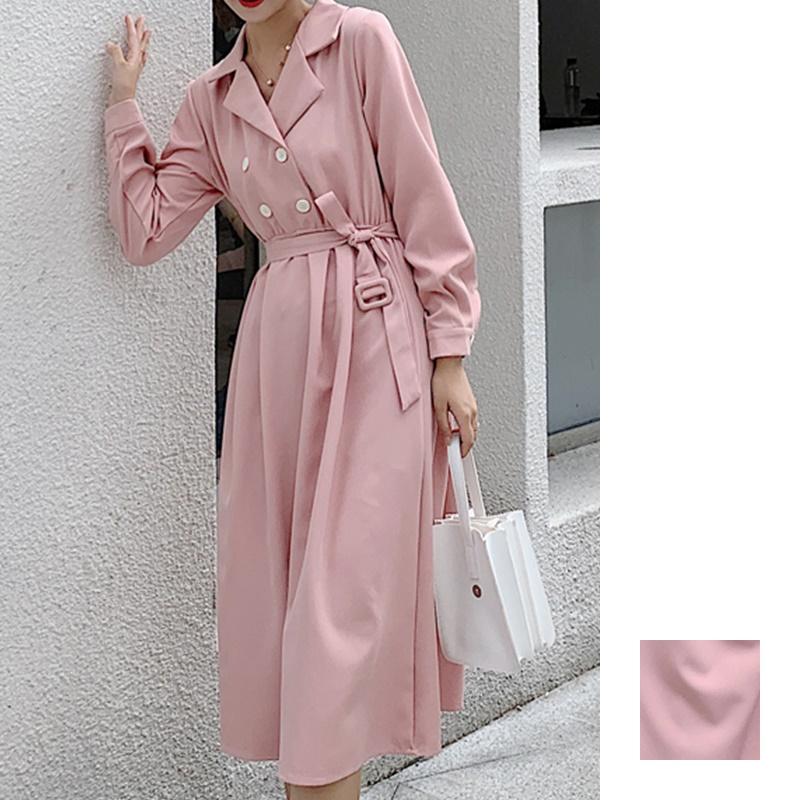 韓国 ファッション ワンピース 春 秋 冬 カジュアル PTXH452  シャーベットカラー ベーシック シャツワンピ オルチャン シンプル 定番 セレカジの写真1枚目