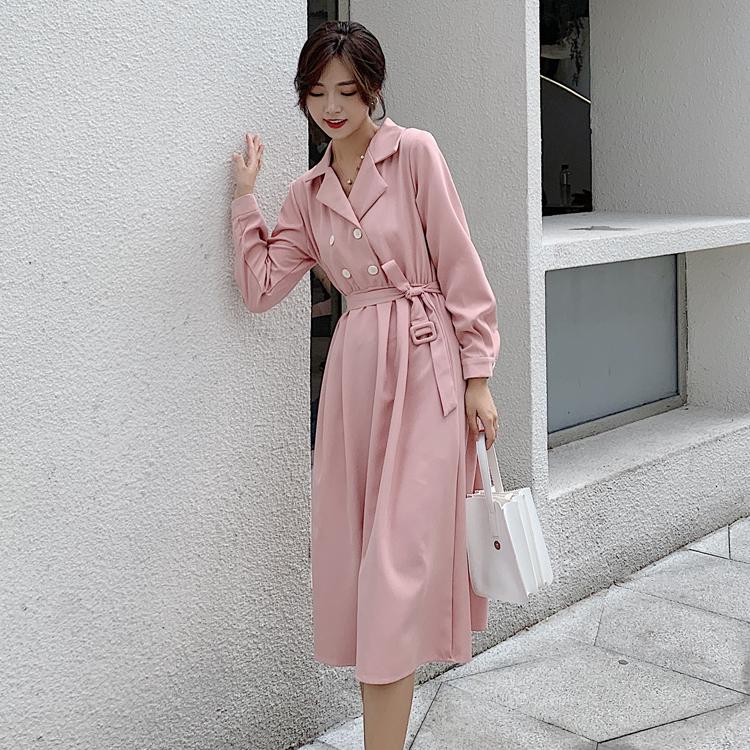 韓国 ファッション ワンピース 春 秋 冬 カジュアル PTXH452  シャーベットカラー ベーシック シャツワンピ オルチャン シンプル 定番 セレカジの写真2枚目