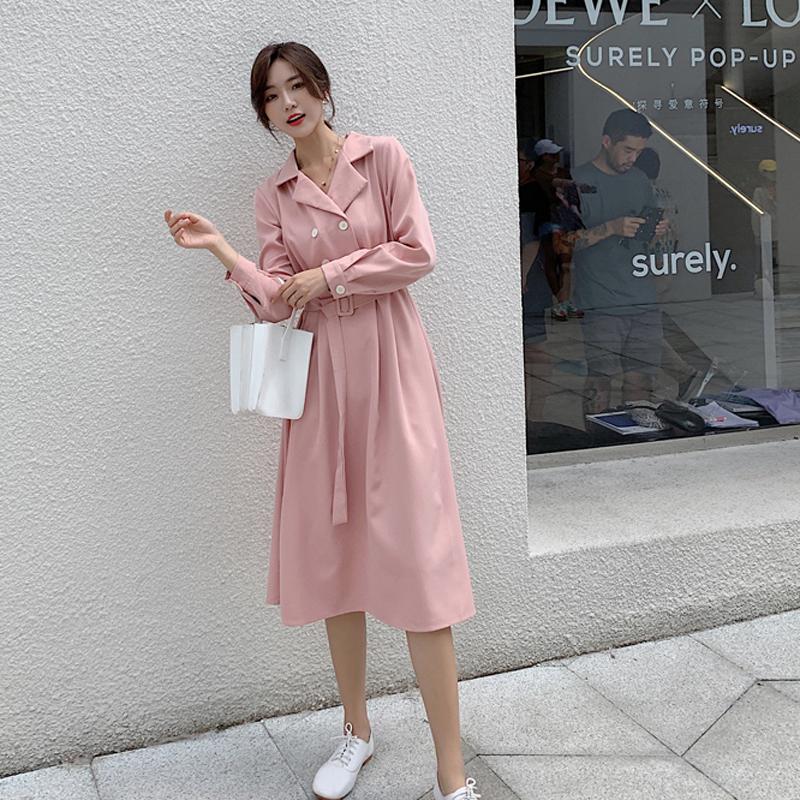 韓国 ファッション ワンピース 春 秋 冬 カジュアル PTXH452  シャーベットカラー ベーシック シャツワンピ オルチャン シンプル 定番 セレカジの写真3枚目