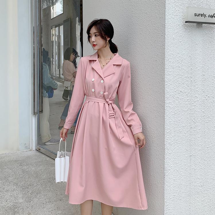 韓国 ファッション ワンピース 春 秋 冬 カジュアル PTXH452  シャーベットカラー ベーシック シャツワンピ オルチャン シンプル 定番 セレカジの写真4枚目