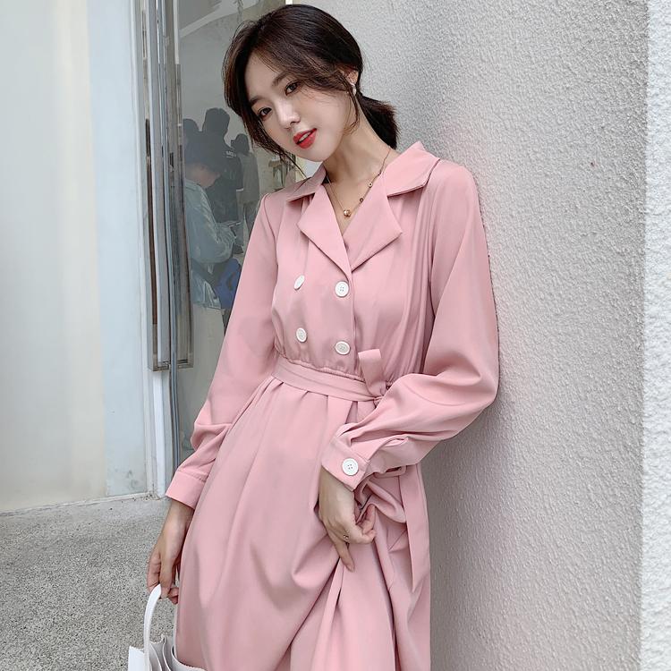 韓国 ファッション ワンピース 春 秋 冬 カジュアル PTXH452  シャーベットカラー ベーシック シャツワンピ オルチャン シンプル 定番 セレカジの写真7枚目