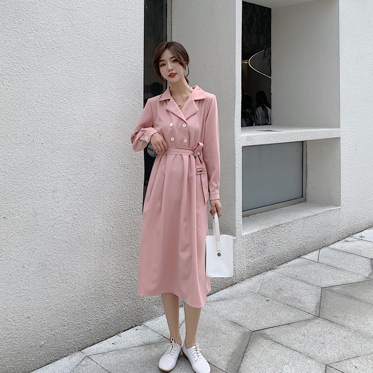 韓国 ファッション ワンピース 春 秋 冬 カジュアル PTXH452  シャーベットカラー ベーシック シャツワンピ オルチャン シンプル 定番 セレカジの写真8枚目