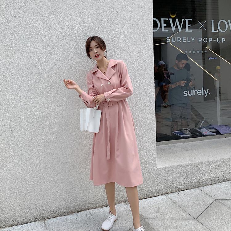 韓国 ファッション ワンピース 春 秋 冬 カジュアル PTXH452  シャーベットカラー ベーシック シャツワンピ オルチャン シンプル 定番 セレカジの写真9枚目