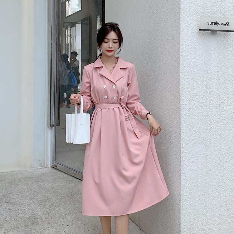 韓国 ファッション ワンピース 春 秋 冬 カジュアル PTXH452  シャーベットカラー ベーシック シャツワンピ オルチャン シンプル 定番 セレカジの写真10枚目