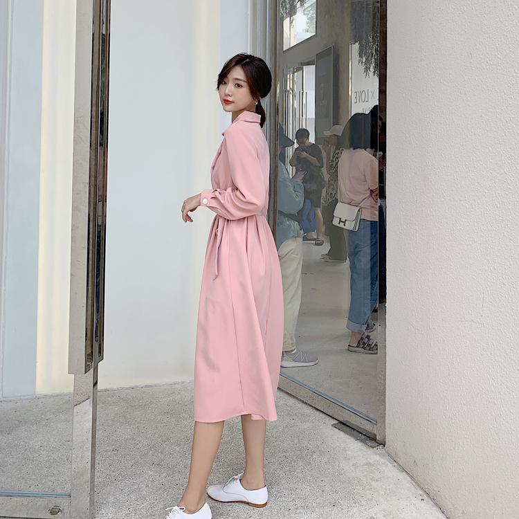 韓国 ファッション ワンピース 春 秋 冬 カジュアル PTXH452  シャーベットカラー ベーシック シャツワンピ オルチャン シンプル 定番 セレカジの写真11枚目
