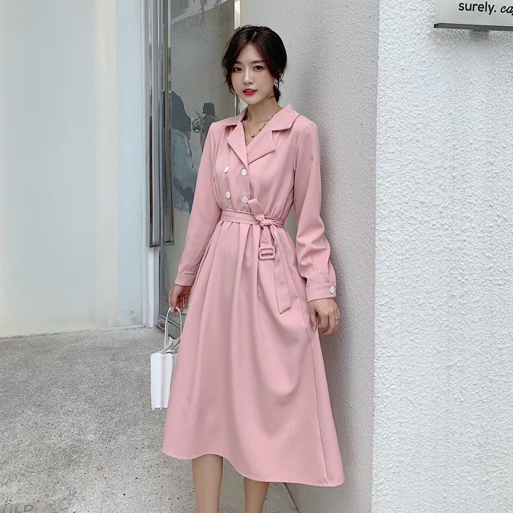 韓国 ファッション ワンピース 春 秋 冬 カジュアル PTXH452  シャーベットカラー ベーシック シャツワンピ オルチャン シンプル 定番 セレカジの写真12枚目