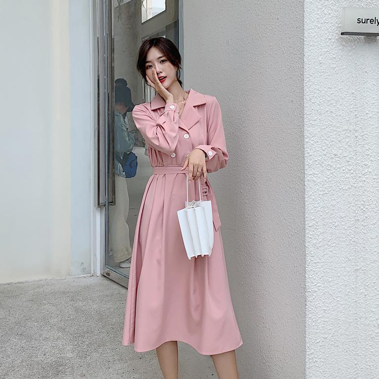 韓国 ファッション ワンピース 春 秋 冬 カジュアル PTXH452  シャーベットカラー ベーシック シャツワンピ オルチャン シンプル 定番 セレカジの写真13枚目