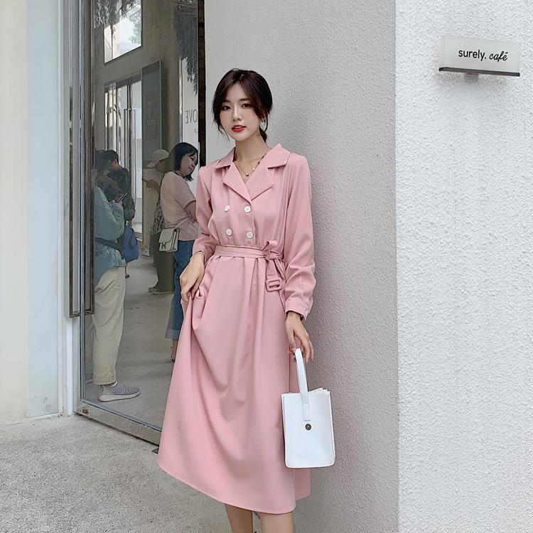 韓国 ファッション ワンピース 春 秋 冬 カジュアル PTXH452  シャーベットカラー ベーシック シャツワンピ オルチャン シンプル 定番 セレカジの写真14枚目