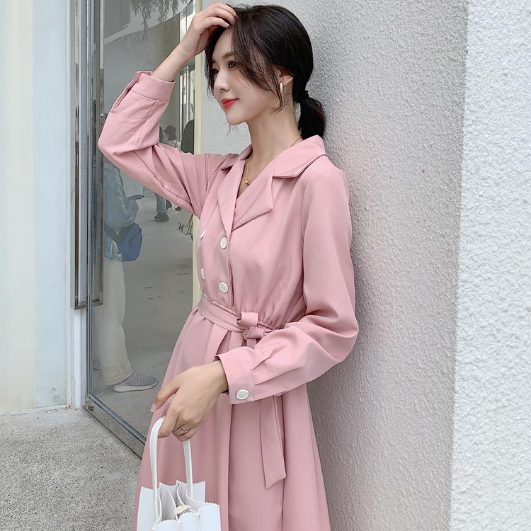 韓国 ファッション ワンピース 春 秋 冬 カジュアル PTXH452  シャーベットカラー ベーシック シャツワンピ オルチャン シンプル 定番 セレカジの写真15枚目