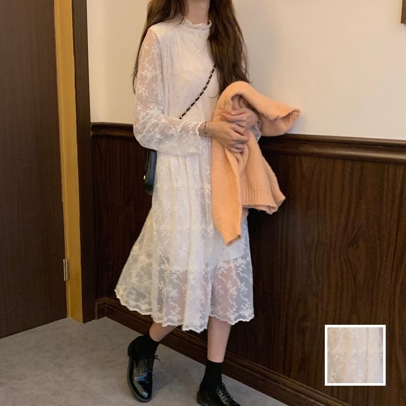 韓国 ファッション ワンピース 春 秋 冬 カジュアル PTXH464  オールレース イレギュラーヘム ゆったり オルチャン シンプル 定番 セレカジの写真1枚目