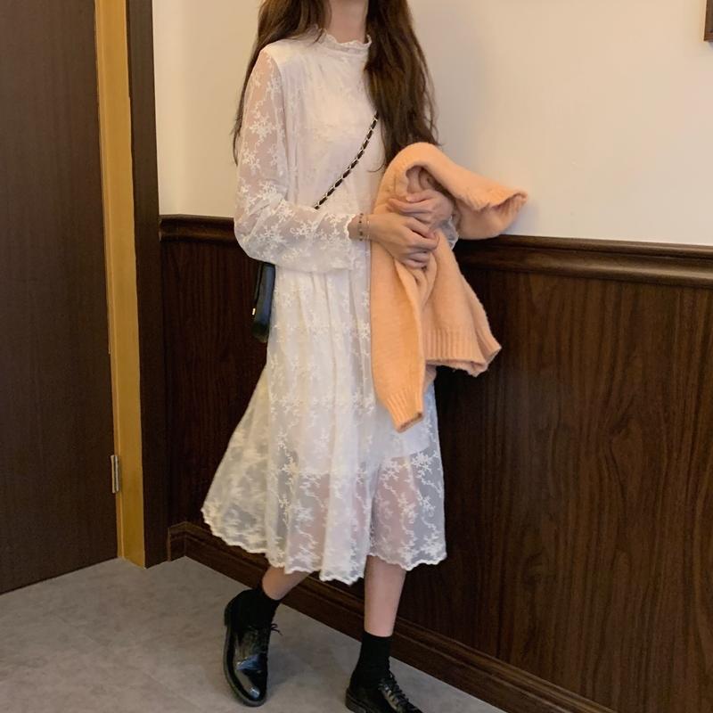 韓国 ファッション ワンピース 春 秋 冬 カジュアル PTXH464  オールレース イレギュラーヘム ゆったり オルチャン シンプル 定番 セレカジの写真3枚目