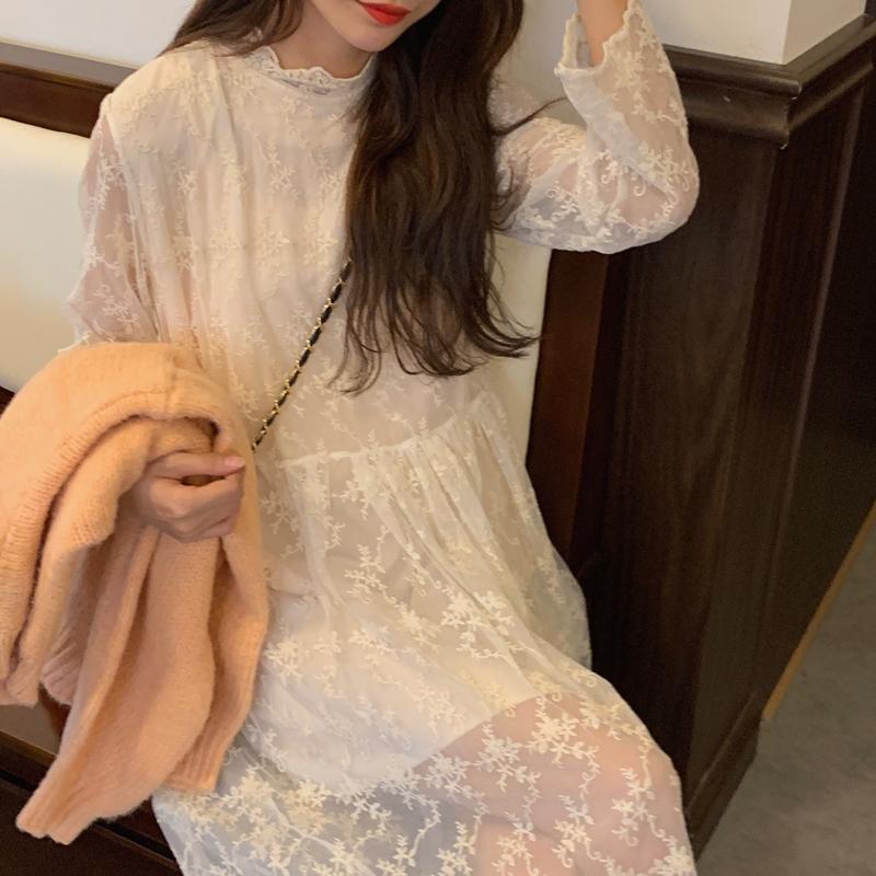 韓国 ファッション ワンピース 春 秋 冬 カジュアル PTXH464  オールレース イレギュラーヘム ゆったり オルチャン シンプル 定番 セレカジの写真9枚目