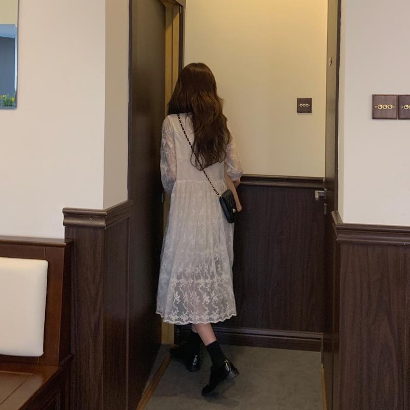 韓国 ファッション ワンピース 春 秋 冬 カジュアル PTXH464  オールレース イレギュラーヘム ゆったり オルチャン シンプル 定番 セレカジの写真10枚目