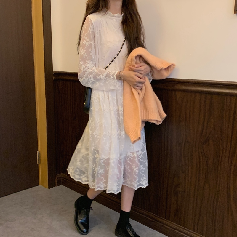 韓国 ファッション ワンピース 春 秋 冬 カジュアル PTXH464  オールレース イレギュラーヘム ゆったり オルチャン シンプル 定番 セレカジの写真13枚目