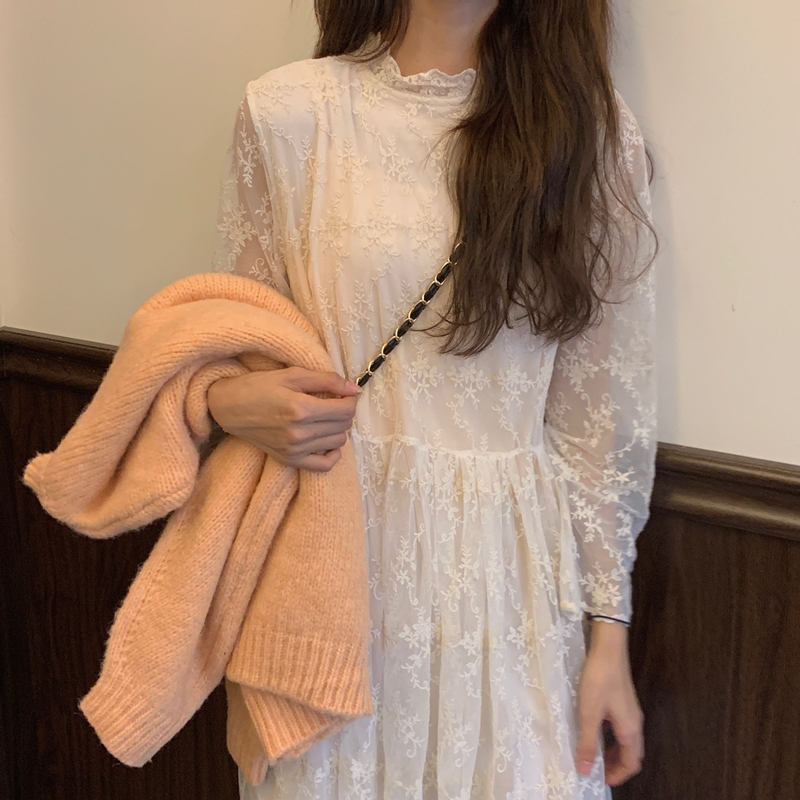 韓国 ファッション ワンピース 春 秋 冬 カジュアル PTXH464  オールレース イレギュラーヘム ゆったり オルチャン シンプル 定番 セレカジの写真14枚目