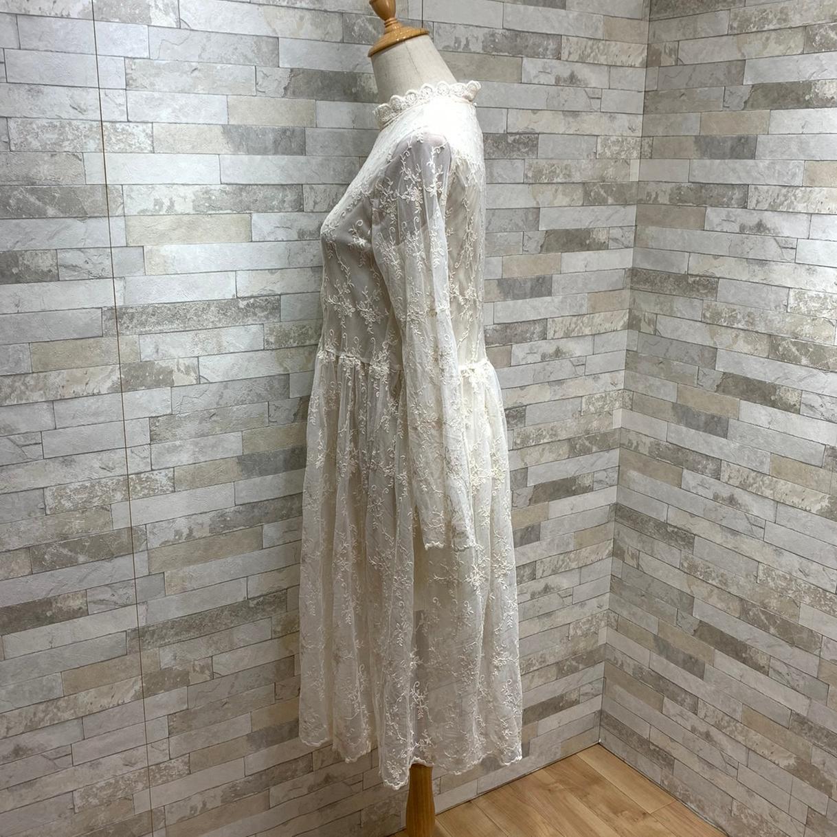 韓国 ファッション ワンピース 春 秋 冬 カジュアル PTXH464  オールレース イレギュラーヘム ゆったり オルチャン シンプル 定番 セレカジの写真18枚目