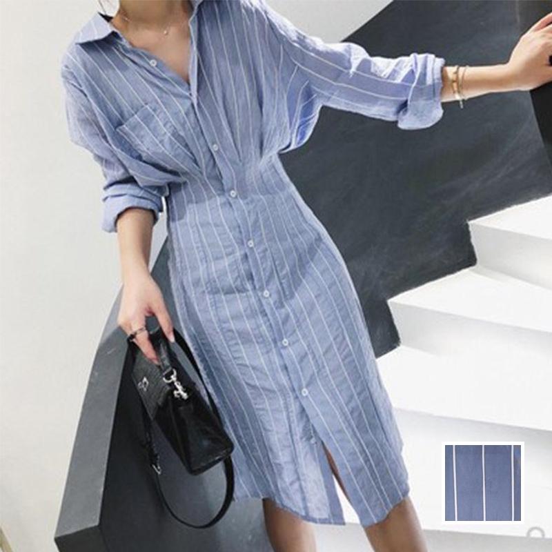 【即納】韓国 ファッション ワンピース 春 夏 秋  カジュアル SPTXH470  タイト タック Yライン エレガント リゾート オルチャン シンプル 定番 セレカジの写真1枚目