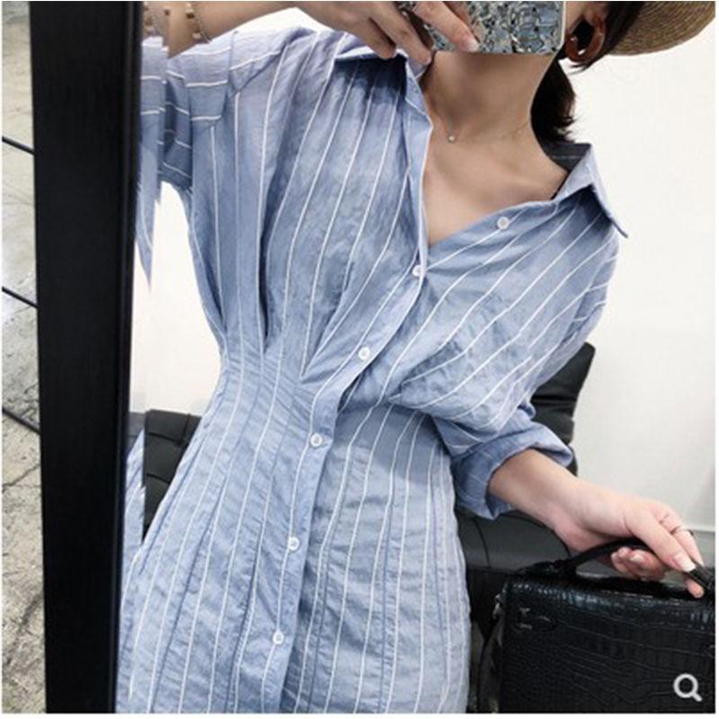 【即納】韓国 ファッション ワンピース 春 夏 秋  カジュアル SPTXH470  タイト タック Yライン エレガント リゾート オルチャン シンプル 定番 セレカジの写真2枚目