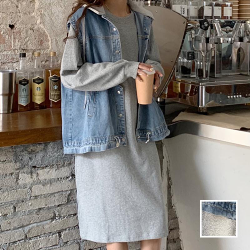 韓国 ファッション セットアップ 秋 冬 春 カジュアル PTXH472  ビッグシルエット フード付 ベスト ゆるタイト オルチャン シンプル 定番 セレカジの写真1枚目