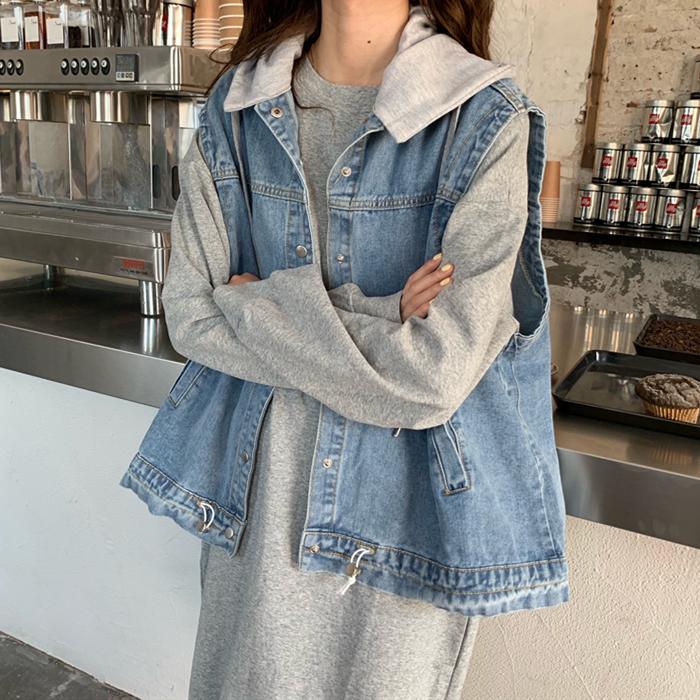 韓国 ファッション セットアップ 秋 冬 春 カジュアル PTXH472  ビッグシルエット フード付 ベスト ゆるタイト オルチャン シンプル 定番 セレカジの写真3枚目