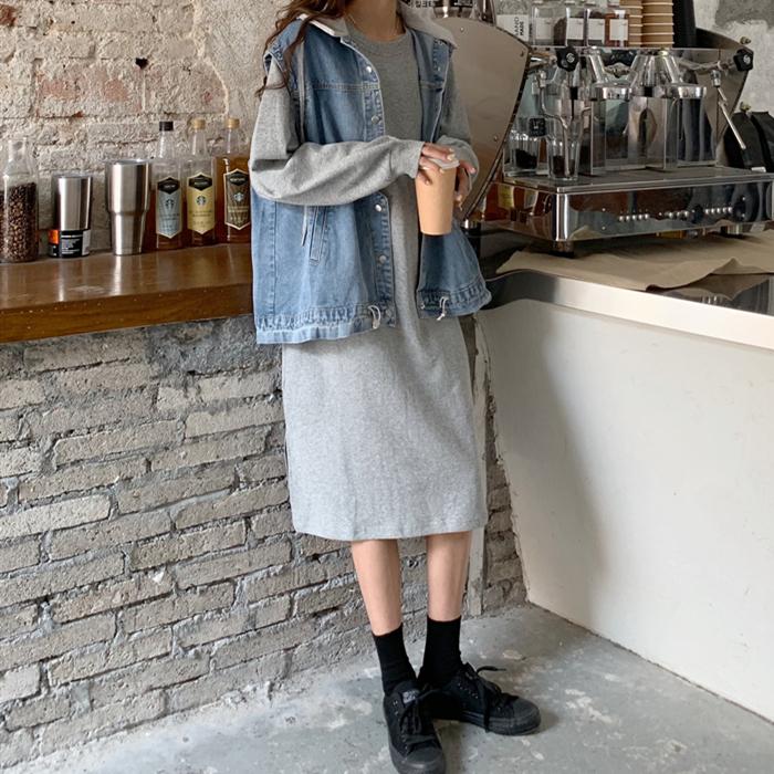 韓国 ファッション セットアップ 秋 冬 春 カジュアル PTXH472  ビッグシルエット フード付 ベスト ゆるタイト オルチャン シンプル 定番 セレカジの写真4枚目