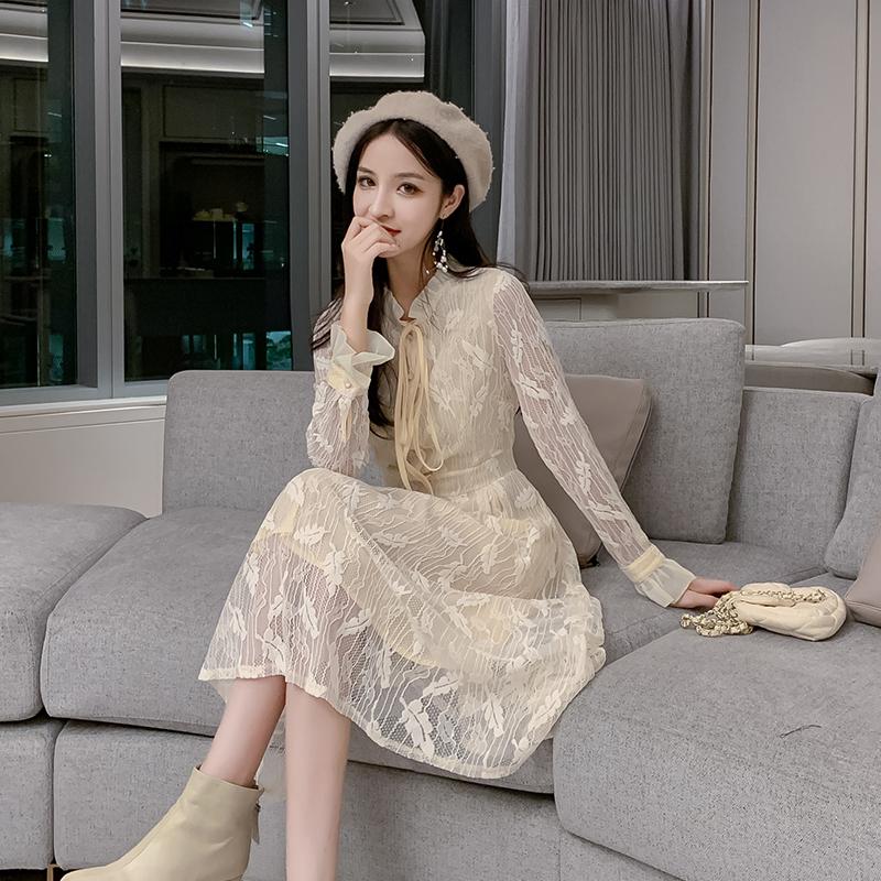 韓国 ファッション ワンピース パーティードレス ロング マキシ 春 夏 パーティー ブライダル PTXH485 結婚式 お呼ばれ 総レース 羽モチーフ スタンドカラー フリ 二次会 セレブ きれいめの写真2枚目