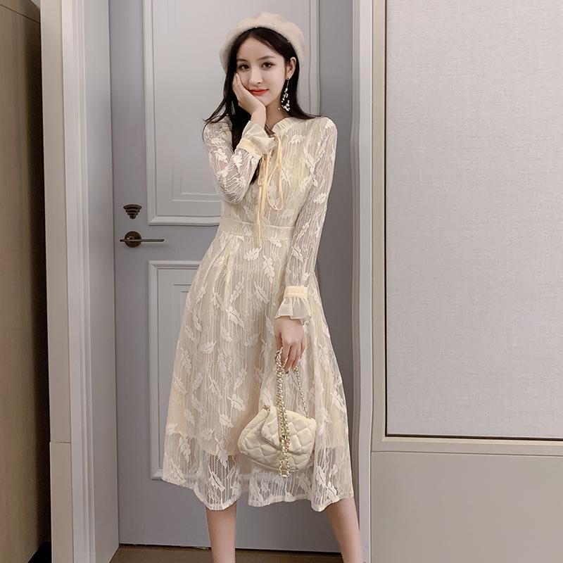 韓国 ファッション ワンピース パーティードレス ロング マキシ 春 夏 パーティー ブライダル PTXH485 結婚式 お呼ばれ 総レース 羽モチーフ スタンドカラー フリ 二次会 セレブ きれいめの写真3枚目